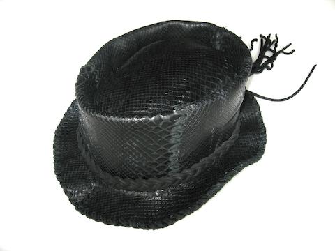 Lost Art™ Black Python Skin Hat with a Leather Braid Hatband