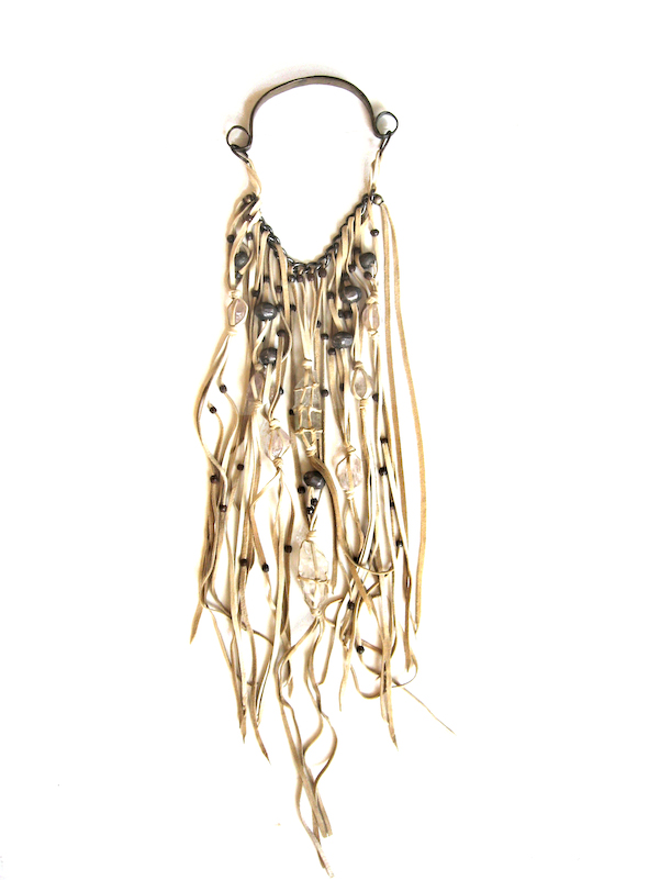 Lost Art™ Necklace, made from Genuine Leather, Crystals and Metal Beads
