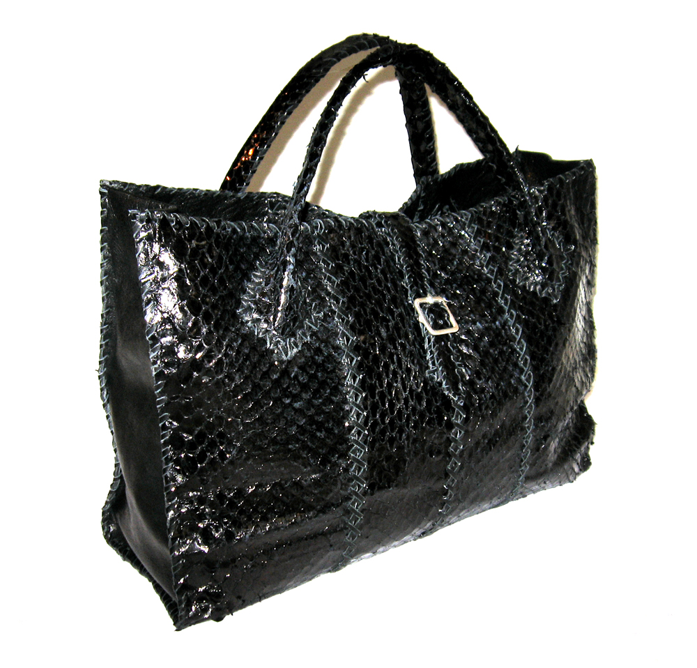 Lost Art™ Python Skin Duffle Bag with Silver Buckle Closure - Custom Leather Bags