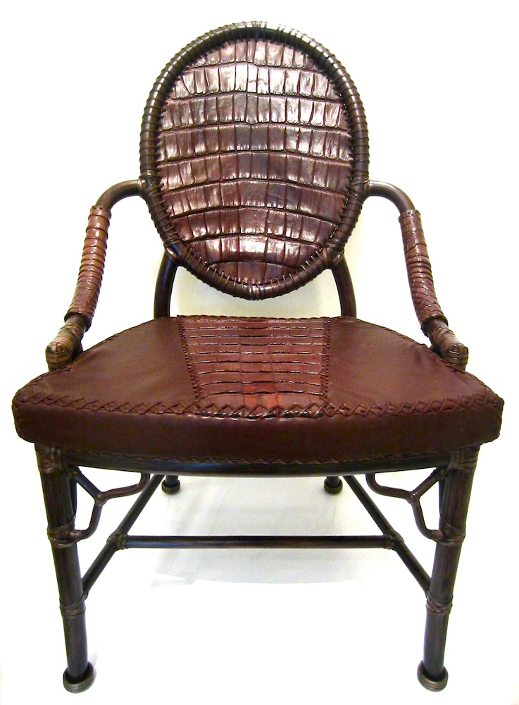 Charmant Lost Art Alligator Skin Chair With Leather Details Along With A Seat  Cushions Covered In Alligator Skin And Leather