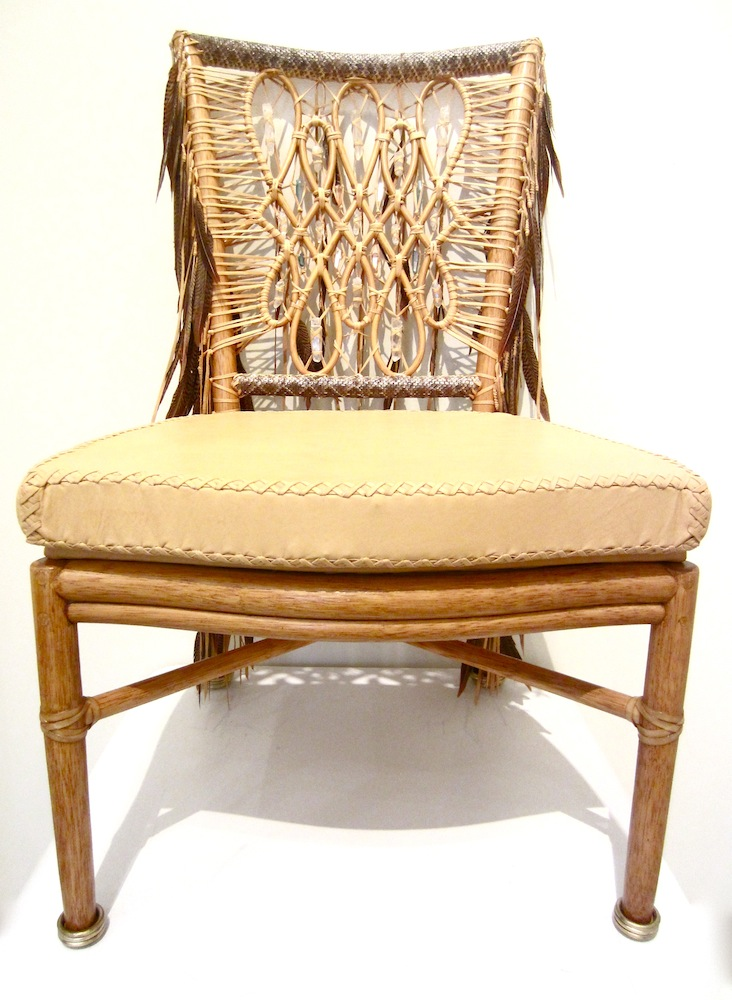 Lost Art Hand Made Chair Covered In Crystal, Feather And Rattlesnake  Details, Along
