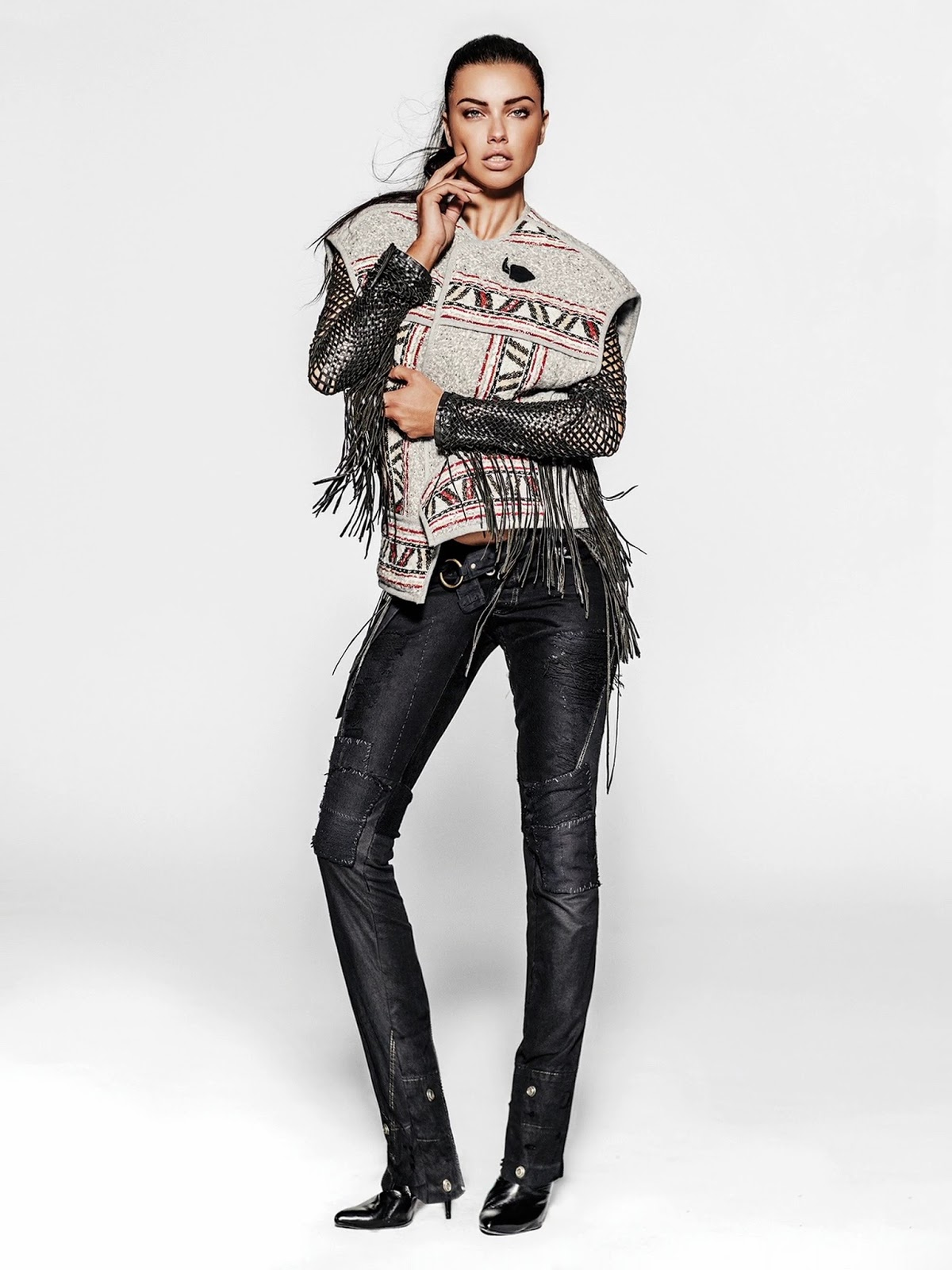 Model adriana lima wearing lost art woven leather jacket - Lost in vogue ...